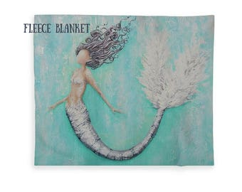 mermaid blanket, fleece mermaid throw, soft neutral sherpa mermaid blanket, Nancy Quiaoit