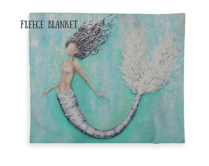 mermaid blanket, fleece mermaid throw, soft neutral sherpa mermaid blanket, Nancy Quiaoit