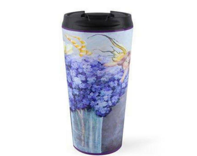 Fairy travel mug, insulated stainless steel fairies mug, purple fairy travel drink holder, Original art by Nancy Quiaoit.