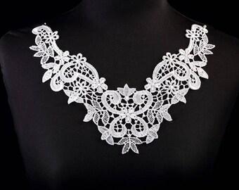 1 x large collar applique lace guipureBlanc 26 cm X 21 cm