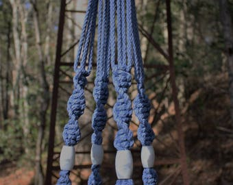 Periwinkle Macrame Plant Hanger with White Swirl Marbella Beads
