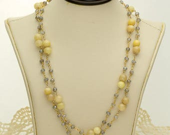 Cream and Grey Marble Necklace 72ct (B94N)