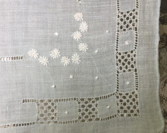 SALE Handkerchief Bridal Bridesmaid Madeira Cotton Cutwork  Wide Border