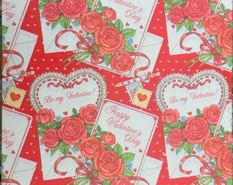 SALE Valentine Hearts Gift Wrap American Greetings 1979 Vintage Classic Traditional
