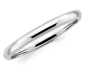10K Solid White Gold 2mm Milgrain High Polish Comfort Fit Wedding Band Ring