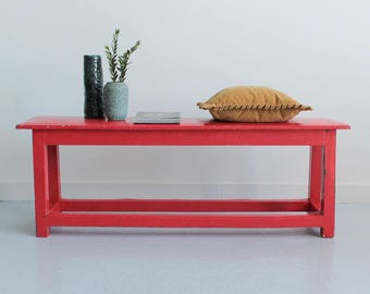 Vintage Red Wooden Rustic Bench
