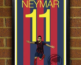 ON SALE 15% OFF Neymar 11 Poster - Barcelona Fc - Brazil Soccer Poster- 8x10, 13x19,poster, art, wall decor, home decor, la liga