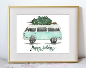 Groovy Holidays, Watercolor Painting Print, Seasonal Home Decor, Holiday wall art for the home, Christmas decor, tree car art