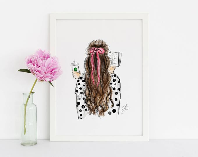Featured listing image: Bows and Books (Fashion Illustration Print)