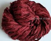 Pure Sari Silk Vintage Red Wagon, Per Yard Or Skein, Fair Trade, silk ribbon, fabric, silk Sari textile, Silk, Weaving, ArtWear Elements, #6