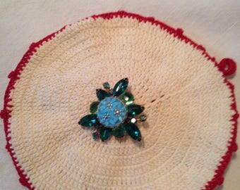 Mid Century Retro Emerald Green Brooch