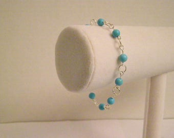 Turquoise-dyed Bead and Silver Link Bracelet