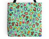 Chibi Animal Crossing Pattern  Wild World  New Leaf  Polyester Premium Tote Bag