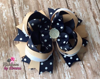 Polka Dot Navy and Tan Layered Boutique Bow, Back to School Hair Bows, School Uniform