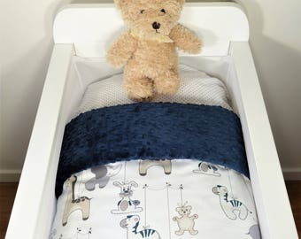 Bassinet gift package OR bassinet quilt - Neutral baby animals AND navy minky