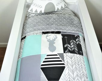 Bassinet/pram items or set - Black, grey and mint, deer and arrow patchwork