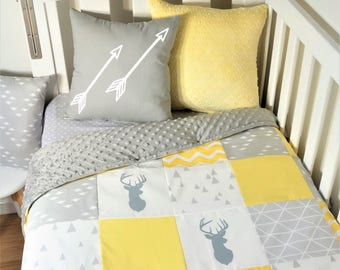 Patchwork nursery set - Yellow and grey elephant deers (Grey minky quilt backing) Cot quilt, cot fitted sheet, throw cushions, floor mat