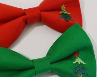Christmas Red or Green with Tree embroidery bow tie, Christmas bow tie, red bow tie, boys bow tie, Green bow tie, baby bow tie, mens bow tie