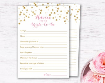Shower Advice for the Bride Printable, engagement advice, bridal shower games, wedding advice cards, gold confetti, INSTANT DOWNLOAD 003