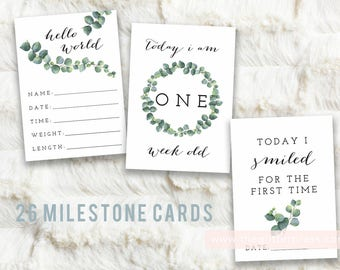 Printable Baby Milestone Month Cards, Set of 26 signs, Eucalyptus Gender Neutral, greenery, baby monthly photo prop, INSTANT DOWNLOAD