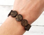 Wooden Bead Bracelet, Wood Coin Bead Bracelet, Circle Beads, Dark Wood Jewelry, Women's Jewelry, Stacking Bracelet, Stack, Beads, Boho, Yoga