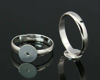 5 pcs Ring Bases Silver Plated and Adjustable