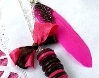 Necklace three macarons plum, Brown and fuchsia