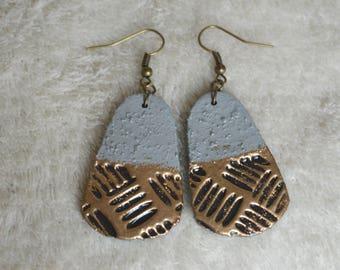 Earrings long fimo / polymer - inspiration lof - cement, bronze, copper, herringbone, sheet metal