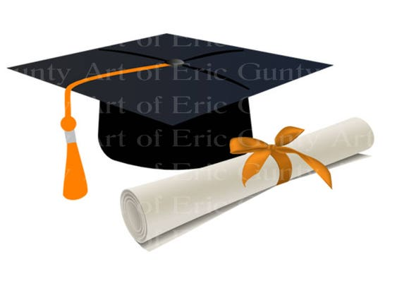 Orange & Black Graduation Cap and Diploma Birthday - Edible Cake and Cupcake Topper For Birthday's and Parties! - D22823