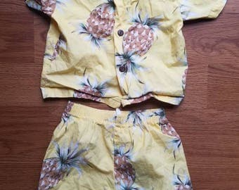Vintage Hawaiian shirt and shorts set for toddler 2 yellow pineapples button down luau