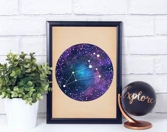 Leo Constellation, Wall Art Prints, Art Print Poster, Leo Art, Leo Zodiac, Zodiac Print, Zodiac Sign