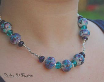 Glass necklace * art * purple/green with white water - imagination - nature - Lampwork Glass Beads
