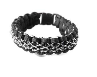 Laced Bracelet, Stitched Paracord Bracelet, Woven Bracelet, Celtic Bracelet, Black White Bracelet, Micro Cord, Diamond Pattern, Intricate