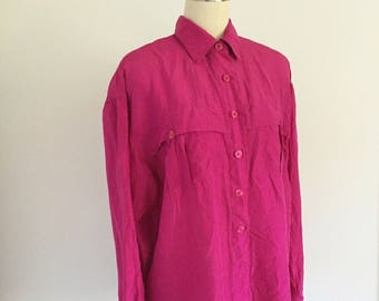 Vintage Hot Pink Silk Blouse Top Shirt Boxy Flowy Loose Fit Size M 1990s