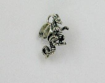 Sterling Silver 3-D Dragon Charm