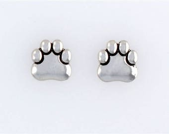 Sterling Silver Dog Paw Post or Stud Earrings