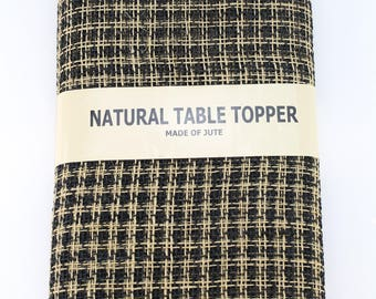 Plaid Burlap Table Topper 49x49 inches in Black & Natural Color (XJM-T20)