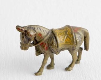 Vintage Metal Saddled Horse Figurine with Decorative Painting