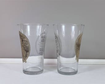 Vintage set of two Coke Victorian Lady Flare pattern - French and english Coca Cola retro glasses - Coke collectible -  Vintage kitchen