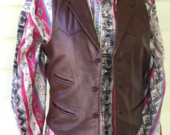 Vintage Leather Vest Waistcoat/Size 38 Small/Western Cut/1970s 80s/Biker/Country Western Dance/Chocolate Brown/Rodeo/Cowboy/Rancher/Dude
