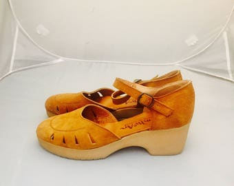 70s Platform Wedge Mary Janes Leather Loafers Shoes wonens Size 8 38 39 by Thim Mcan