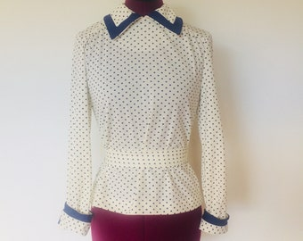 70s Polkadot Top Belted Blue White S M Sailor Shirt Nautical