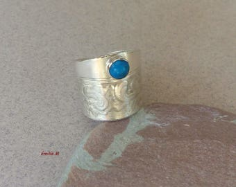 Sterling silver upcycled ring with turquoise - Artisan jewelry by Emilia-m