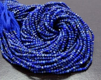 Sale 45% Off Full 13 Inch X 10 Strand AAA ++ Quality LAPIS Lazuli Gemstone 2.40 mm Approx Machine Cut Faceted Rondelle Beads.