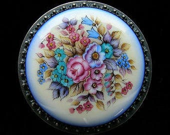 Round Floral  Box Russian Enamel