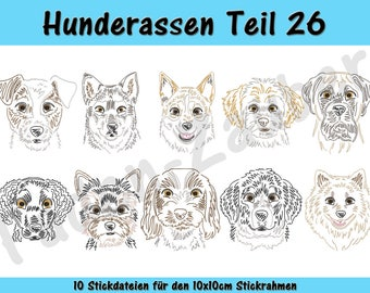 Dog breeds part 26 - embroidery-set for the border 10x10cm