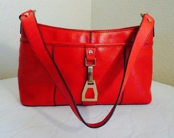 BEAUTIFUL Red Leather 'Etienne Aigner' Handbag - GORGEOUS!!