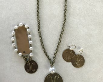 Monogrammed Jewelry Set