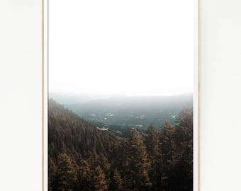 Pine Trees Mountains Print Poster Forest Wall Decor Nordic Art Scandinavian Monochrome Nature Wilderness Minimalist Snow Wild Winter 1054