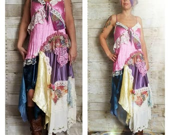 Pink Sunshine Shabby asymmetric floral lace layered cowgirl satin slip repurpose country ruffled Boho altered mori maxi Dress